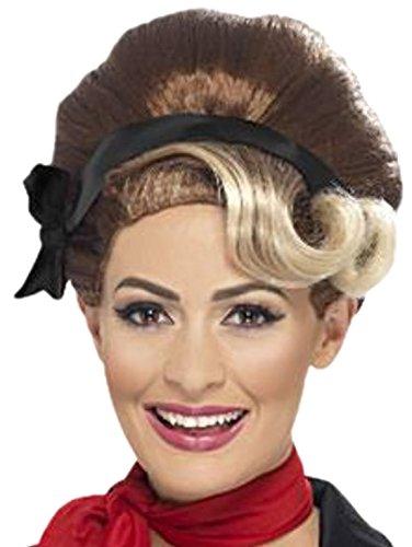 Halloweenia - Damen Perücke 50er Jahre Grease, Braun Blond (Tot 50er Jahre Mädchen Kostüm)
