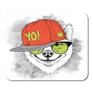 Gaming Mouse Pad Mat, Akita The of Sakita Inu Dog Portrait in Hip Hop Hat Headphones Animal Beast Black 11.8