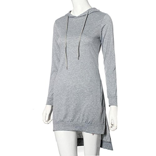 Femmes Sweatshirt, Internet fente double Hoodie robe pull poches Pull Gris
