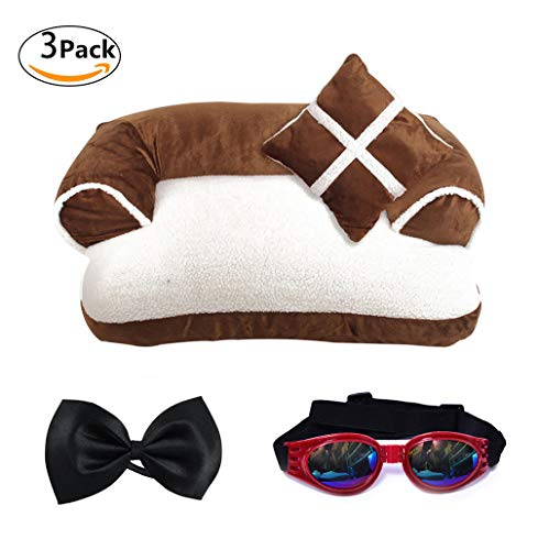 LA VIE Cama Sofá para Mascotas Lavable Extraíble con Almohada Colchoneta Cama Nido Suave Acogedor para Perros Pet Dog Bed M en Marrón