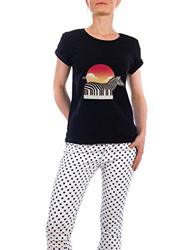 """Design T-Shirt Frauen Earth Positive """"Zeyboard"""" - stylisches Shirt Tiere Natur Musik von Ali GÜLEÇ Schwarz"""