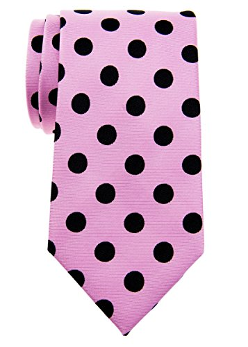 Retreez Chic Vintage à pois 8cm de cravate en microfibre tissé Cravate Pink with Black Dots