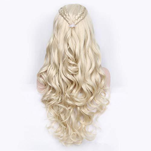 zouxiang Synthetische Perücke wellig Lange graue Cosplay Perücken Haar für Frauen Drache Kostüm Perücken mit hochbeständigen synthetischen Keine-Spitze Perücken aus Haar platinblond 28 Zoll (Varys Kostüm)