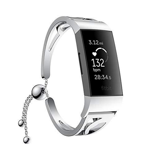 FBGood Perlen Ersatzband,Mädchen Schnellspanner Ersatz Uhrenarmband Smart Watch Geschäft Armband Sportarmband Für Fitbit Charge 3 (Klettverschluss Analoge Armbanduhr Casio)