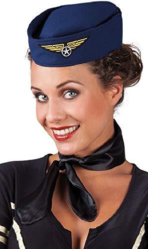 Fancy Me Damen Blue Air Hostess Stewardess Pilotmütze Mütze Karneval Kostüm Outfit (Air Hostess Kostüm Hut)