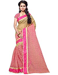 SATYAM WEAVES WOMEN'S ETHNIC WEAR POLYCOTTON SAREE .(CHIKU CHOKDA) (PINK)