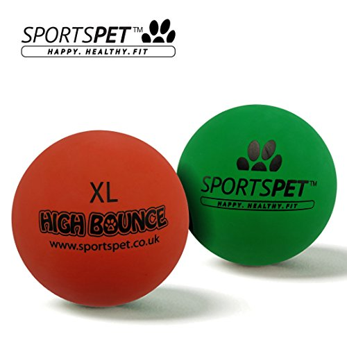 SPORTSPET XL High Bounce Rubber Dog Balls 2 pack