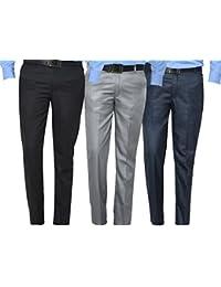 Mark Pollo Cotton Rich Fabric Regular Fit Formal Trousers For Men (Pack Of 3) Black, Light Grey, Dark Grey