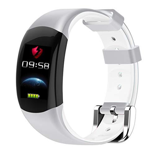 CCYOO Smart Armband Farbe LCD Fitness Armband Pulsmesser Fitness Armband IP68 Wasserdicht Schrittzähler Smart Band,White