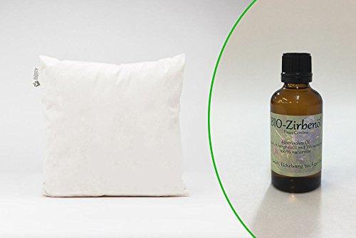 Set Original Zirbenkissen 30x30cm + 10ml Bio-Zirbenöl - das Naturprodukt aus Tirol