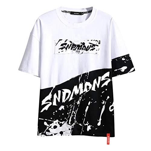Tyoby Herren Mode Drucken Kontrastfarbe Neon T-Shirt Sommer Straße Freizeit Herrenbekleidung Hip-Hop Stil(Schwarz,XXL)