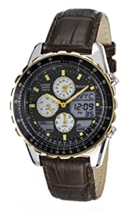Accurist Men's Chronograph Watch MS774B Black Dial with Yellow Hands and Brown Leather Strap