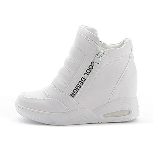 Damen Sneaker Keilabsatz Stiefeletten Wedges Weiß