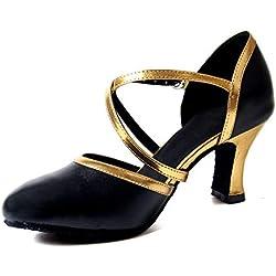 Naudamp Mujer Baile Zapatos PU Cuero Salón de Baile Latin Jazz Tango Zapatos Cruz Correa Tacón