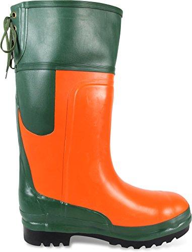 Schnittschutzstiefel S4 EN 345-2, Klasse 2 Oliv/Orange