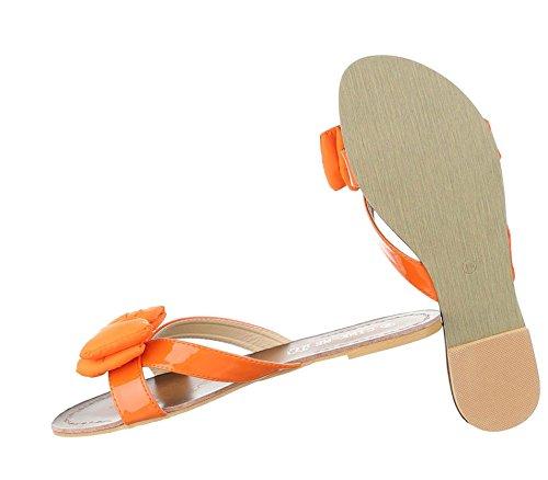 Schuhe Pantoletten Sommerschuhe Strandschuhe Orange Damen Sandalen OXuTPZik