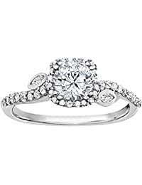 Silvernshine 1.42 Carat Cubic Zirconia Round & Pear Cut Diamond 10k White Gold Over Wedding Ring