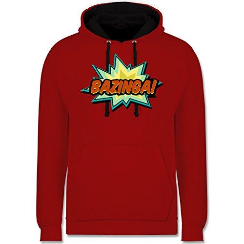 Comic Shirts - Bazinga! - XXL - Rot/Schwarz - JH003 - Kontrast Hoodie