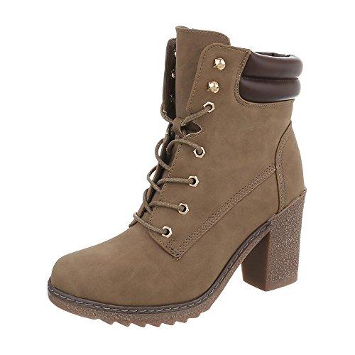 Ital-Design Schnürstiefeletten Damen-Schuhe Schnürstiefeletten Pump Schnürer Schnürsenkel Stiefeletten Hellbraun, Gr 37, A-55-