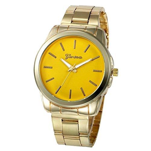 Hot ! AMA(TM) Men Women Sport Analog Quartz Wristwatch Business Watches Gift (Yellow)