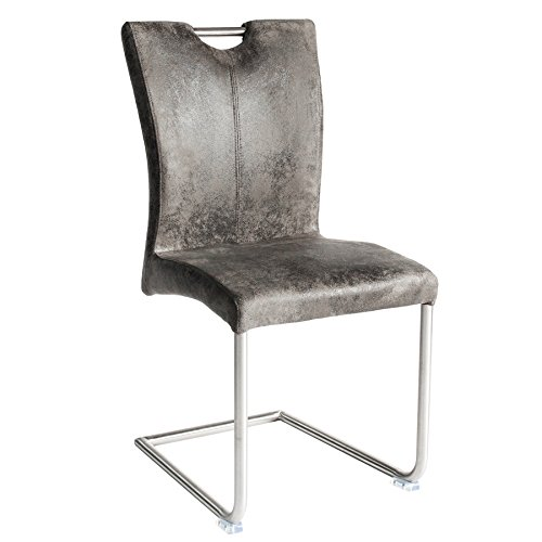 Freischwinger Stuhl BUFFALO Vintage grau mit Edelstahlgestell Esszimmer Stuhl (Esszimmer Grau Leder-stuhl)