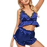 Xmiral Lingerie Babydoll LingerieSexy Intima Biancheria Pigiama Sleepwear Bodysuit Chemise Set da Donna in Pizzo con Rifiniture in Pizzo Sexy da Donna XL Blu