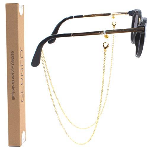 GERNEO - DAS ORIGINAL - Premium Brillenkette & Brillenband in Edelstahl Optik in Gold - Unisex für Lesebrille & Sonnenbrille - SOMMER KOLLEKTION 2019