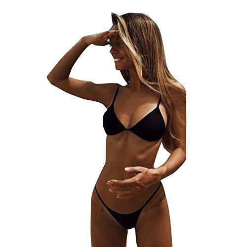TEBAISE 2019 Zweiteiliger Badeanzug Bikini-Sets Damen Neckholder Push-up Gepolsterter BH Bandage Dreipunkt Bademode Swimsuit Swimwear Frauen G-String Tanga Micro Brazil Bikini Outfit Einfarbig