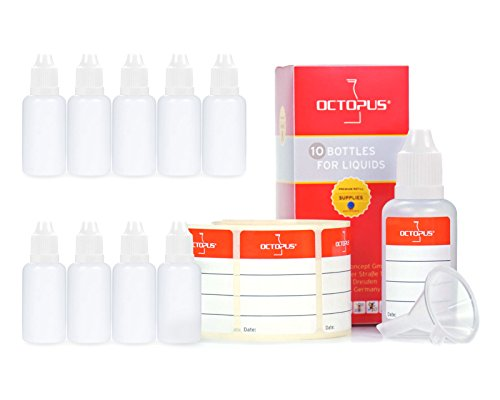 10 x 30 ml Octopus Tropfflaschen, zur Dosierung von Flüssigkeiten, E-Liquids, Augentropfen, leere LDPE Kunststoffflaschen transparent, Tropferflaschen mit weissen Tropfverschlüssen, mit Kindersicherung, inkl. 10 Beschriftungsetiketten