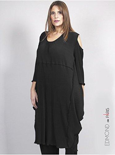 Vêtement Femme Grande Taille Robe Plissée Noire Noir