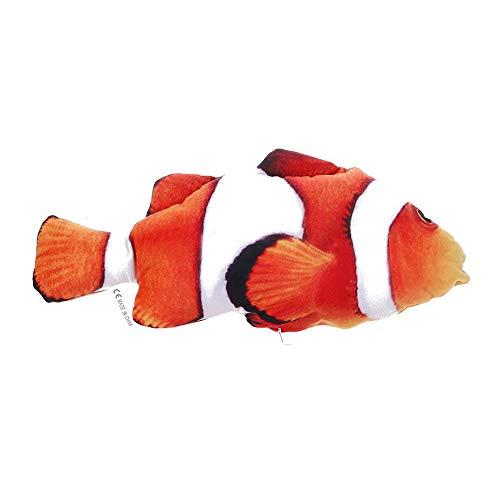 Dragonface Lustige Vivid Fisch-Form-Haustier-Katze Mint Interaktive Spiel Spielzeug 3 Größen Chew Rattle Scratch Schnapperspiel Spielzeug 1 PC (Clown-Fisch-S kein Reißverschluss) -