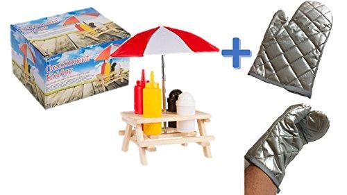 Picknicktisch Menage Set Gewürzständer Grill Tisch Ketchup Senf Pfeffer Salz Salzständer Spender Hot Dog + 1 Grillhandschuh Teflon beschichtet