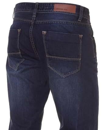 BLZ JEANS - Jeans Homme Effet Froissé Usé - Couleur : Bleu Taille : FR 48 US 38