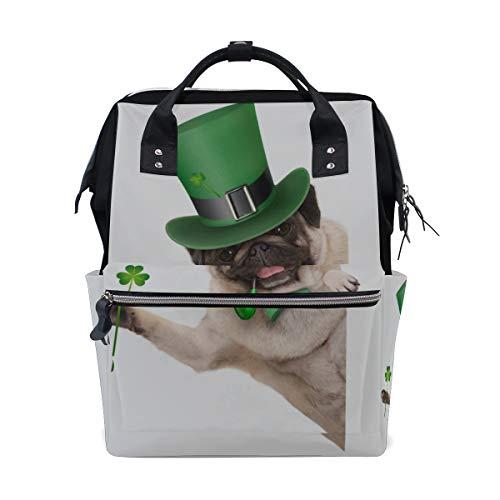 Grüner Hut Hund Welpe große Kapazität Wickeltaschen Mama Rucksack Multi Funktionen Windel Pflege Tasche Tote Handtasche für Kinder Babypflege Reisen täglich Frauen -
