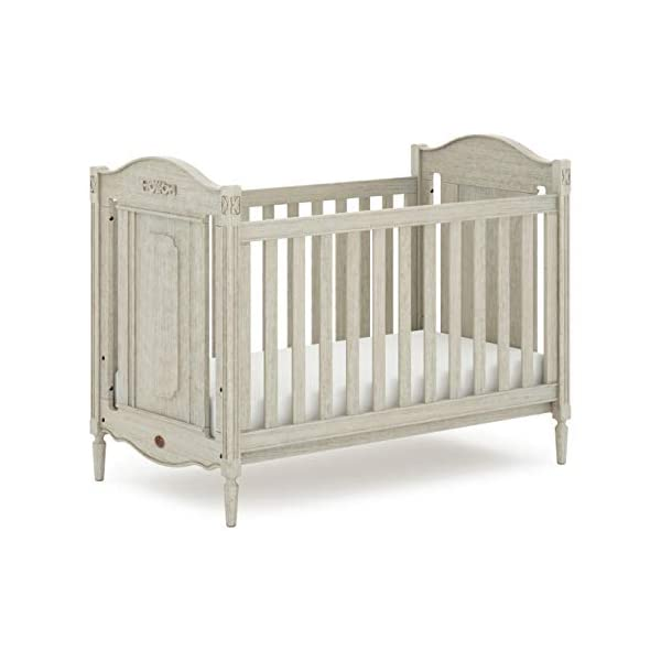 Boori Grace 2 Piece Nursery Room Set, Antiqued Grey Boori Boori 2 piece nursery furniture set including the Grace Cot Bed and Grace 3 Drawer Chest Cot bed made with 100% sustainable solid wood, chest made with sustainable solid wood parts All Boori cot beds convert to a toddler bed suitable from birth to 5 years(Toddler Guard Panel available separately) 2