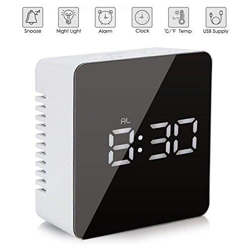 Patasen Digital-LED-Spiegel-Wecker-batteriebetriebene Uhr-Temperatur-Nachtlichter für Schlafzimmer-Wohnzimmer, Büro, Reise - batteriebetrieben u. USB angetrieben (Platz)