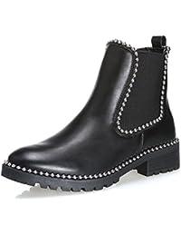 b7eb368a3b462a MForshop scarpe donna stivaletti tronchetto chelsea borchie elastico moda  jl510