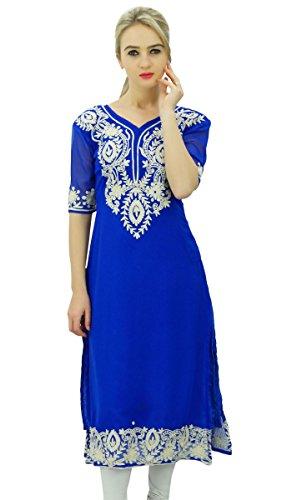 Bimba Frauen Georgette Designer Kurta Kurti Tunika Top indischen gerade Bluse Bestickt -