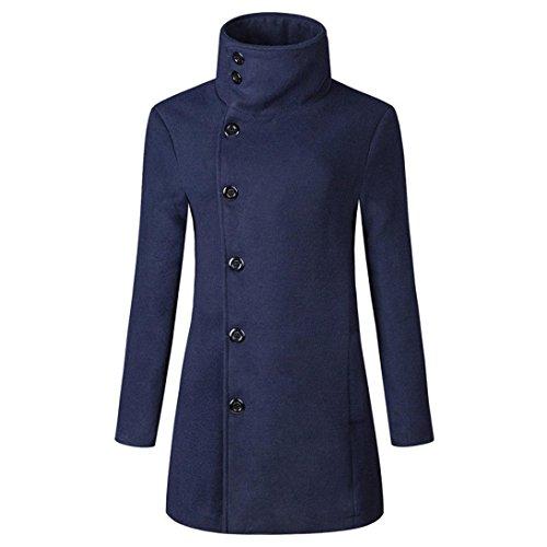 Hommes Manteau, Malloom® Hiver Chaud Veste Pardessus Outwear Slim Boutons de longue tranchée (Marine, XL)