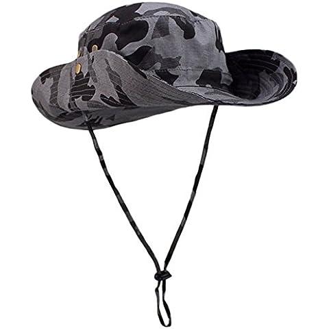 FEOYA Mujer Hombre Sombrero de Pescador Ala Ancha Anti-UV Camo Algodón Camuflaje Selva Gorra Sunhat Bucket Hat Boonie Hat para Acampanada Pesca Senderismo Caza