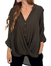 b015fb79c5adae VONDA Women s Casual Long Sleeve V Neck Baggy Pleated Shirt Blouse Tunic  Tops