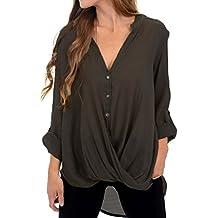 9f059fc3cbf7 VONDA Damen Chiffon Langarm Bluse Oberteile Elegant Lose Pullover Top Shirts