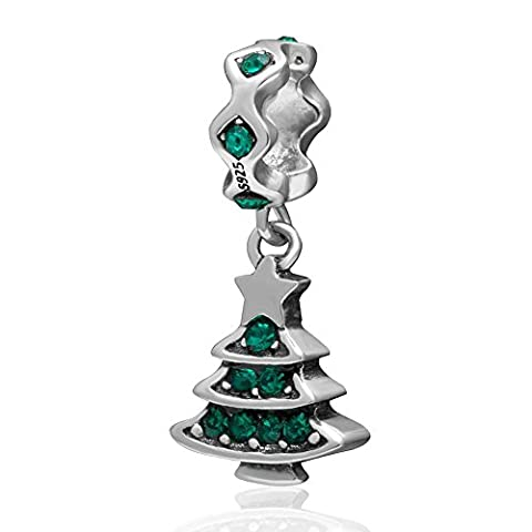 Soulbead Decorated Merry Christmas Tree Charm with Austrian Crystal 925 Sterling Silver Holiday Pendant Bead for Compatible European Bracelet Jewelry (May Birthstone)