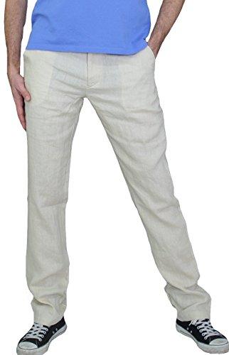 MLP010 PERANO Herren Leinen Hose Slim Fit Farbe Beige Konfektionsgröße 52 Internationale Größe L beige 52/L.