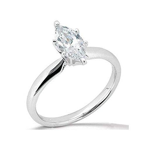 E VVS1 1,75 ct, taglio Marquise, con anello di fidanzamento, Platino, cod. BB-FGMarquise