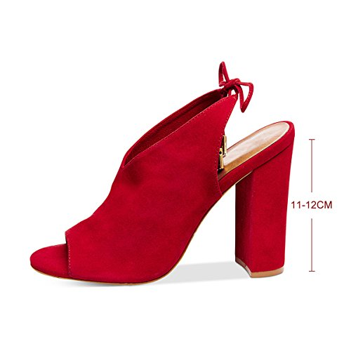 Damen Pumps Peep-Toe High-Heel Blockabsatz Fellsamt Slingback Rot