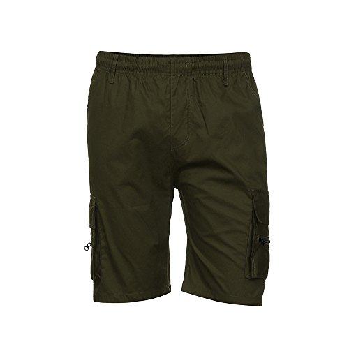 JYJM Männer Shorts Sport Arbeit Casual Armee Kampf Cargo Shorts Multi-Pocket-Hosen Einfarbig Hosen Elastische Shorts (Shorts Linen-blend Cargo)