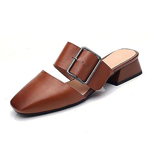 Heart&M Frauen Retro Cowskin quadratische Zehe-Quadrat Heel Chunky Heel-Gürtelschnalle Solid Color Hausschuhe Sandalen Brown