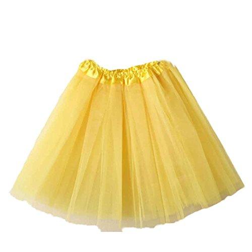 amen Qualitäts Falten Gaze Kurzer Rock Erwachsen Tutu Minirock Petticoat Tanzkleid Ballettrock Pettiskirt Unterrock Multi-Schichten Tüllrock Sommerkleid (Gelb, F) (Gelb Tutu Für Erwachsene)
