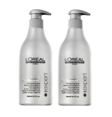 Loreal Silver Glanz-Shampoo + Pumpe 2 x 500 ml Serie Expert Gloss Protect System by L\'Oréal Paris